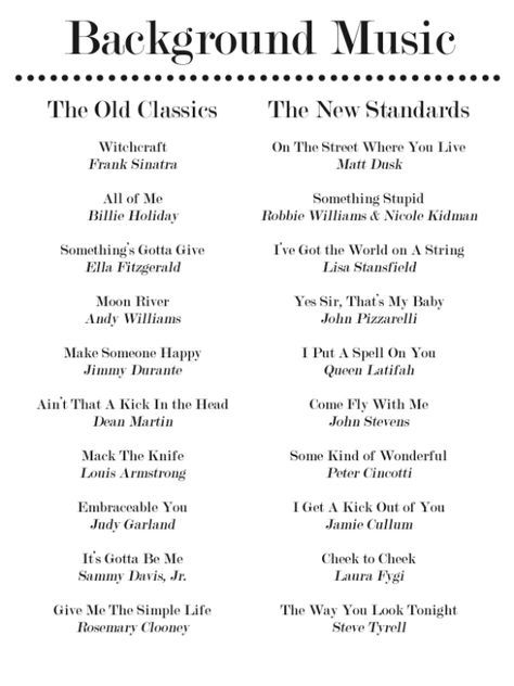wedding songs Enjoy these 20 Jazz Standards for Your Dinner Party Playlist. Party and Hosting Tips and Hacks for the Holidays - Thanksgiving, Christmas, Cookie Exchanges and Beyond on Frugal Coupon Living. Party Playlist, Wedding Playlist, Song Playlist, Road Trip Playlist, Jazz Standard, Music Mood, Mood Songs, Pop Music, Gatsby Party
