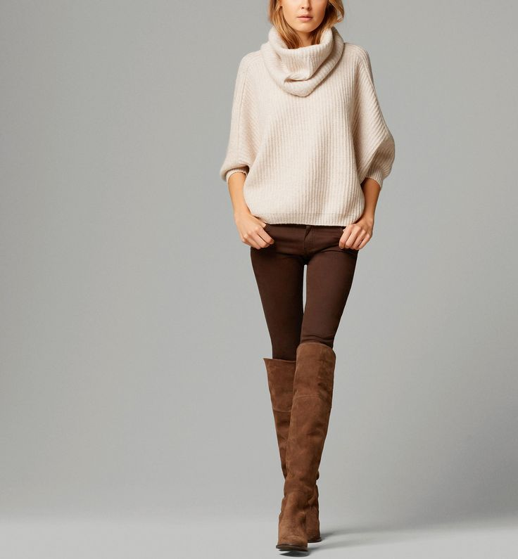 Clothing closet ideas brown boots long trousers white top pullover