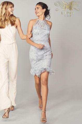 1a4dd3c32f Buy Lipsy VIP Lace Embroidered Feather Hem Dress from the Next UK online  shop