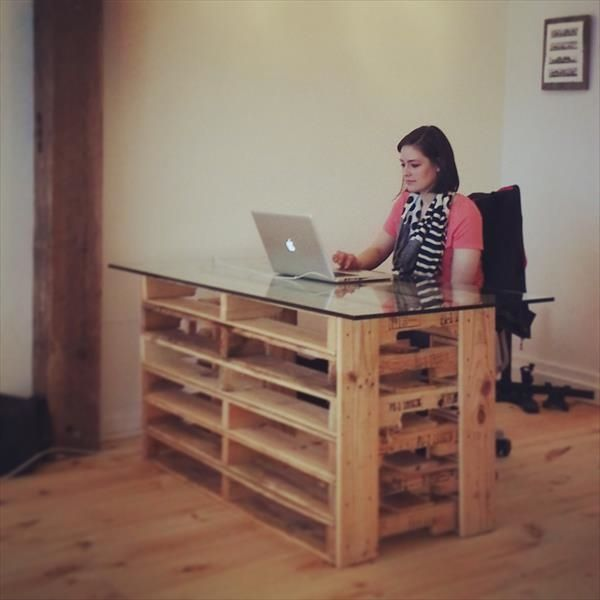 pallet computer desk with glass top DIY office furniture recycled pallets home office ideas