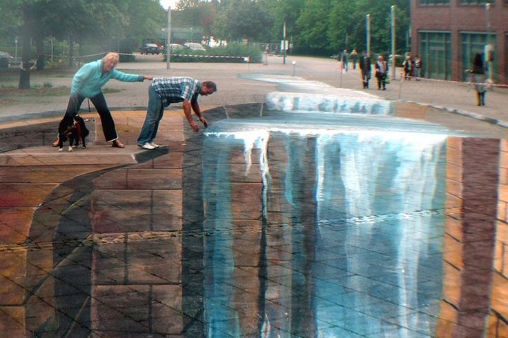 3D chalk street art by Gregor Wosik