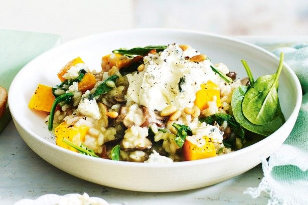 Take advantage of seasonal veggies and try this flavoursome mushroom, pumpkin and spinach risotto.