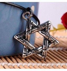 Halsband för män/killar med smycke utformat som ett hexagram