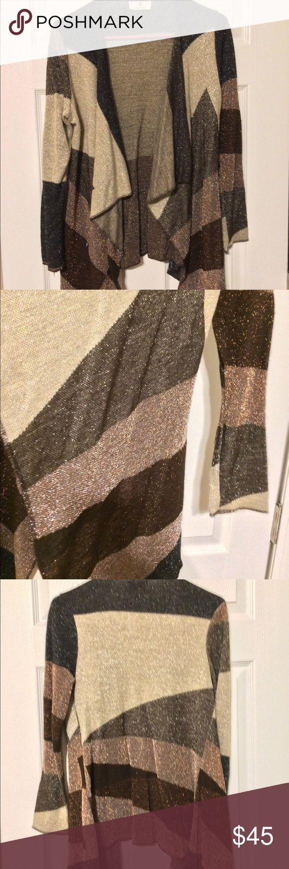 Brown-black-gold cardigan sweater Gold-black-brown glitter sweater Sweaters