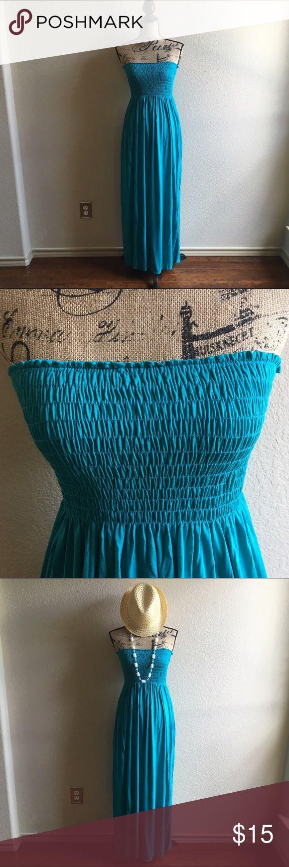 Selling this Teal Strapless Maxi Dress/Cover-Up on Poshmark! My username is: manda108. #shopmycloset #poshmark #fashion #shopping #style #forsale #Style Up #Dresses & Skirts