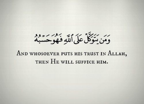 """""""And whoever relies upon Allah - then He is sufficient for him."""" -Quran 65:3"""