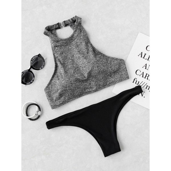 Halter Cut Out Mix & Match Bikini Set (€18) ❤ liked on Polyvore featuring swimwear, bikinis, grey, bikini swimwear, grey bikini, gray halter top, halter neck bikini and halter bikini swimwear