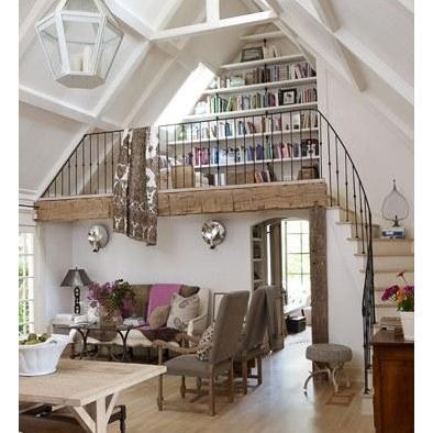 Barn Conversion Living Room - i really love the bookshelves on the different level, really need something like thing :)