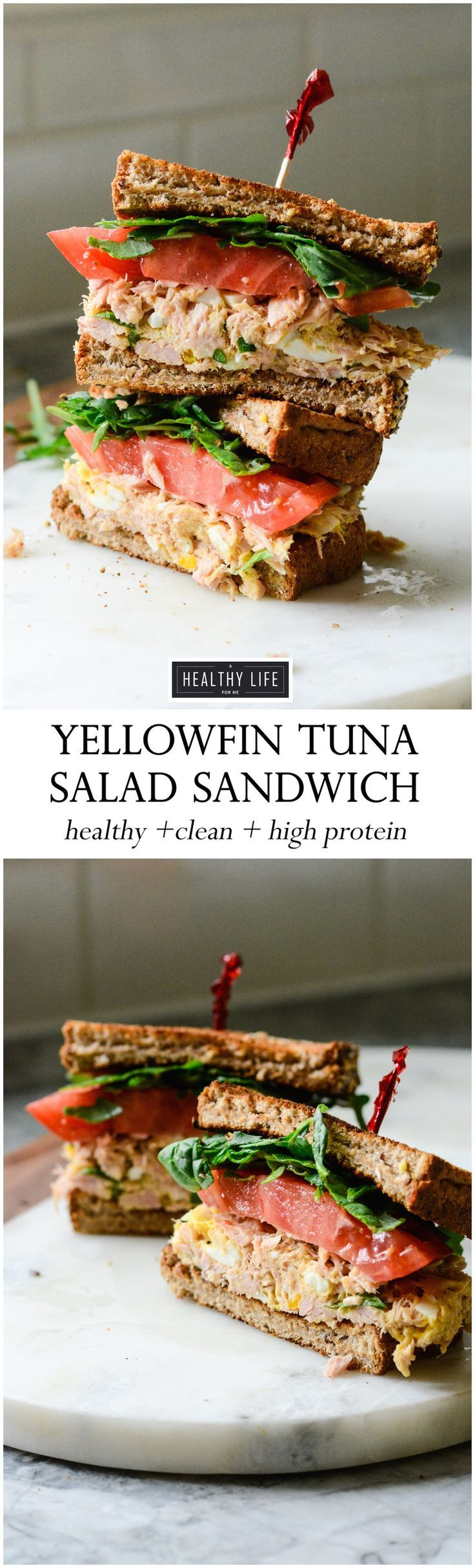 This Yellowfin Tuna Salad Sandwich made with high quality tuna, egg, dijon, a bit of spice all on top of a perfectly toasted piece of bread may be the best tuna salad sandwich ever.  High protein, low calorie makes this is the perfect lunch or light dinner recipe. - A Healthy Life For Me