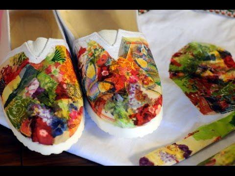 Decoupage - Como aplicar pegamento y servilletas sobre tela - Zapatillas - Gorros - Alpargatas - YouTube