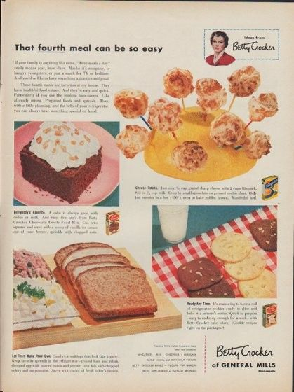"Description: 1953 BETTY CROCKER vintage print advertisement ""That fourth meal"" -- That fourth meal can be so easy ... Betty Crocker of General Mills -- Size: The dimensions of the full-page advertisement are approximately 10.5 inches x 14 inches (27 cm x 36 cm). Condition: This original vintage full-page advertisement is in Very Good Condition unless otherwise noted."