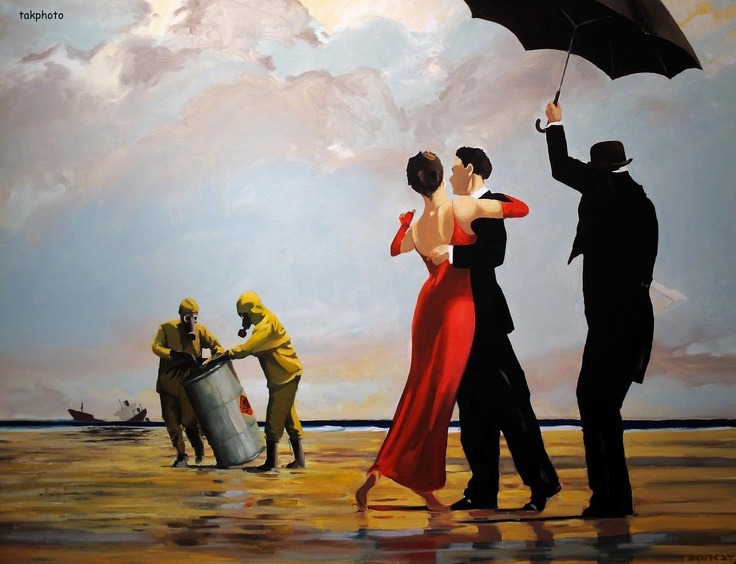 banksy dancing butler on a toxic beach art is. Black Bedroom Furniture Sets. Home Design Ideas