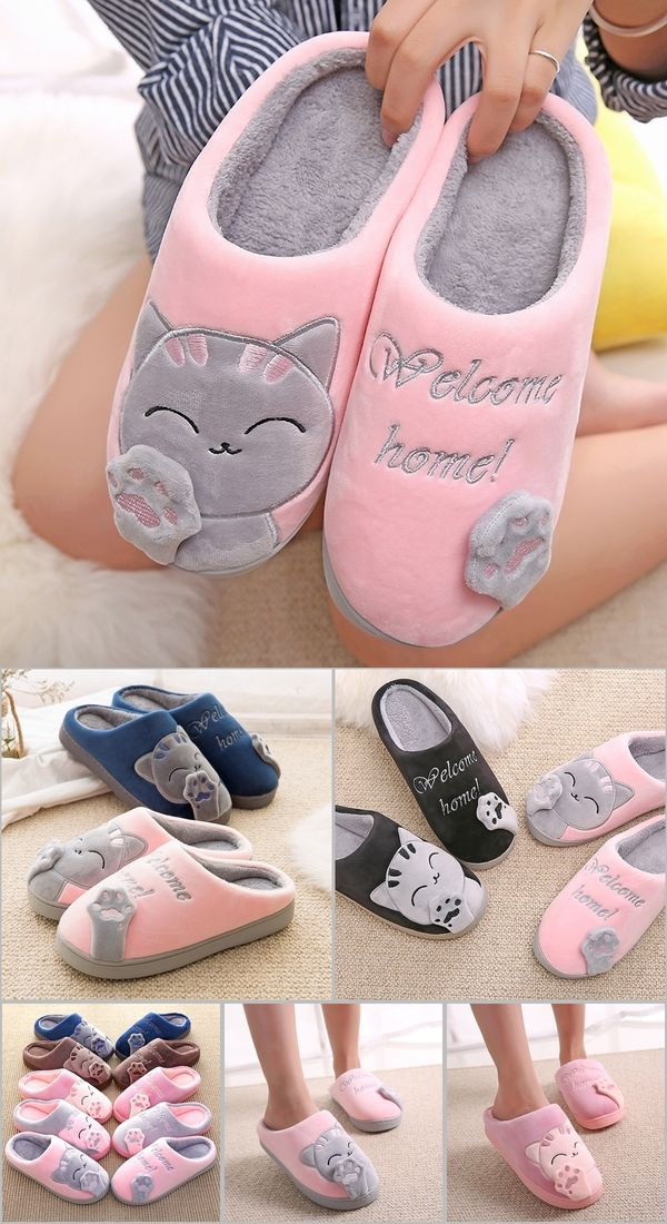 d29d6bdf4a8 Dropshipping Women Winter Home Slippers Cartoon Cat Shoes Soft Winter Warm  House Slippers Indoor Bedroom Lovers