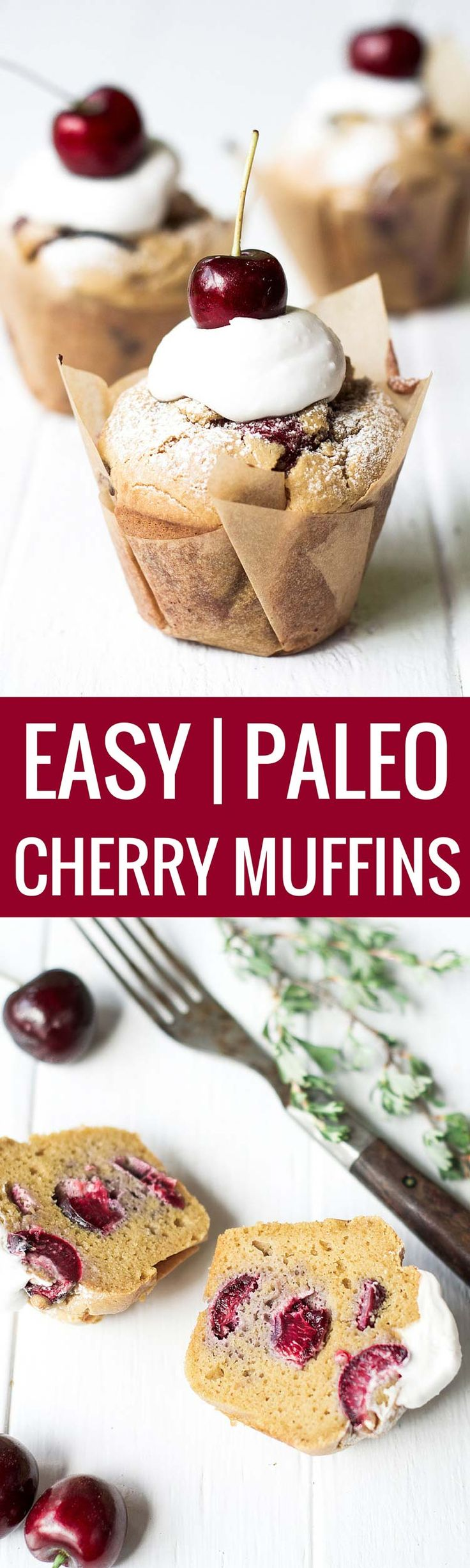 These light and fluffy cherry muffins are paleo and gluten free! Deliciously sweetened with natural sweeteners and fresh cherries this paleo…