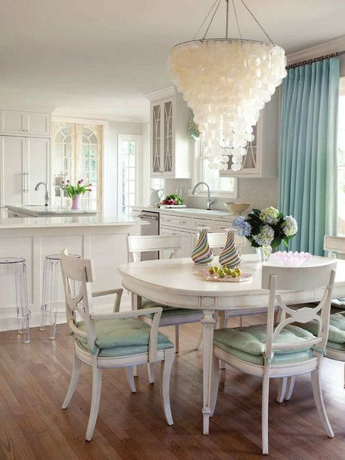 I dream in teal and white glamorous decor pinterest for Teal dining room table