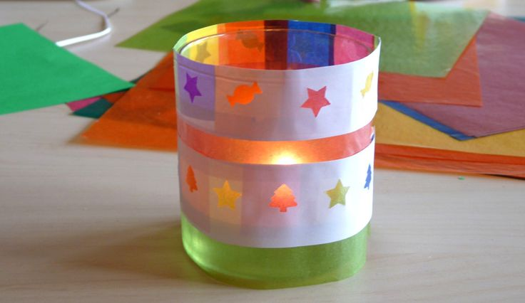 bricolage de Noël - photophore en papier et papier vitrail pour les plus petits