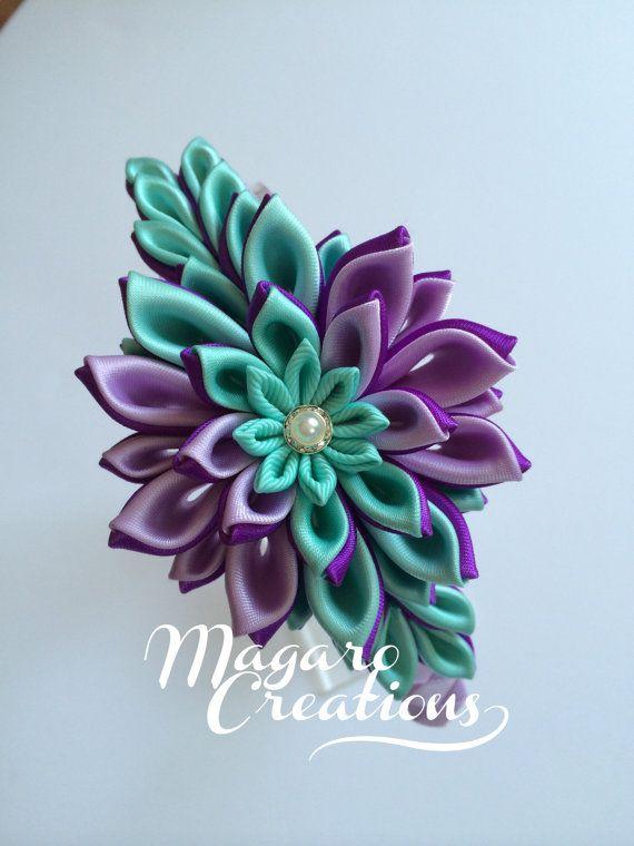 Bandas púrpura venda de kanzashi kanzashi venda por MagaroCreations