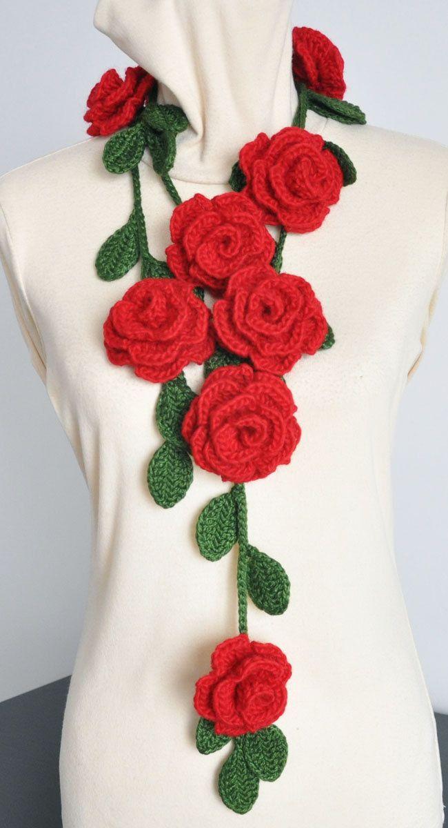 ROSA - Red- Crochet Multicolor Roses Scarf/Lariat