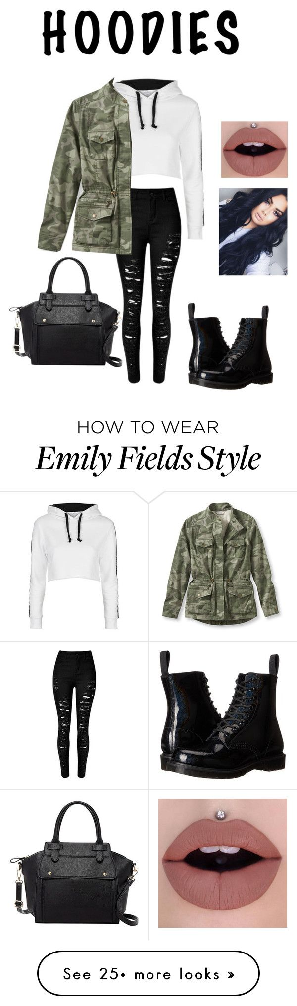 """Hoodie For The Fall"" by kayla-rampersaud on Polyvore featuring Topshop, L.L.Bean, Dr. Martens and Pink Haley"
