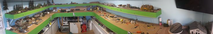 """Panoramic view of the double deck layout in HOn3. 14ft X 10ft """"U"""" shape."""