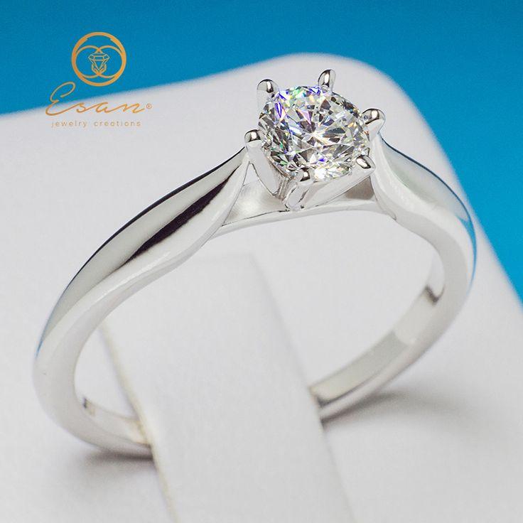 Inel de logodna din aur cu diamant 0.40ct - model solitaire ES131D