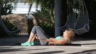 Oblique Side Crunch, 3 sets of 20 reps, Amy Steiner