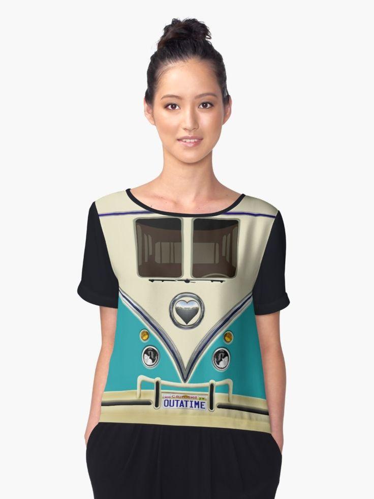kawaii Blue teal love bug mini bus Chiffon Tops @pointsalestore #ChiffonTops #tee #tshirt #clothing #funny #cute #fun #lol #veedub #golf #kombi #minivan #minibus #beetle #bus #camper #retro #splitwindow #van #vintage #bumper #car #lovecar #offroad #campercar #microbus #pickup #transporter