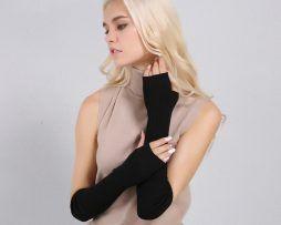 Luxusné dámske dlhé rukavice bez prstov z kašmíru