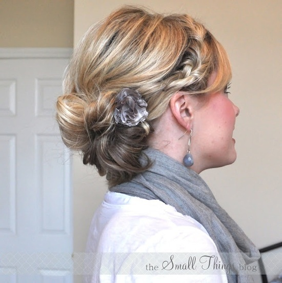 Braided side bun updo for medium length hair