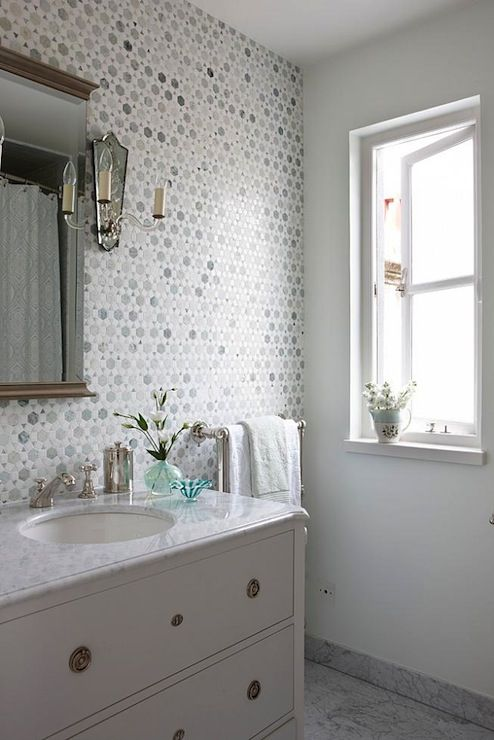 Sarah Richardson Design Bathrooms Saltillo Imports Large Sunflower Carrara Thassos Tile