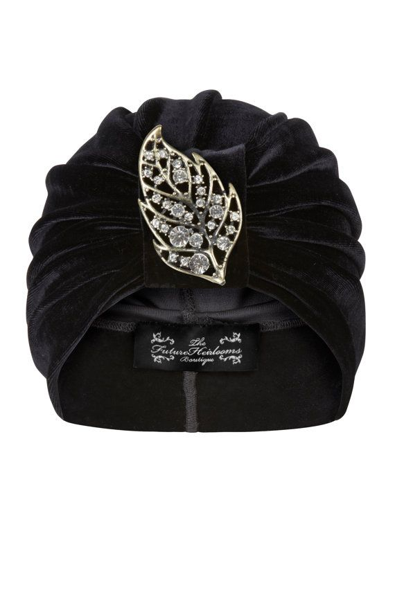 Black Velvet Turban with Silver and Jewel Leaf Detail
