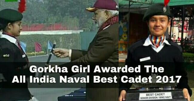 Gorkha Girl Priya Paudyal Awarded With All India Naval BestCadet 2017 By The PM   Priya Paudyal a 21 years old Gorkha Girl from Manipur was awarded the All India Naval Best Cadet. She was felicitated by the Prime Minister Narendra Modi at PM's rally held at Carriappa Parade Ground Delhi.  Born to Mr. Chandraprakash Paudyal and Mrs. Gyaanu Paudyal Priya Poudel comes from Mantripukhri in Manipur. She is currently studying at the MCM Degree College for Women at Chandigarh where she is doing B…