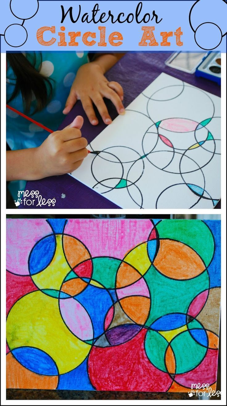 Kids Art Projects - Watercolor Circle Art. The results are always eye catching no matter how kids chose to paint it!