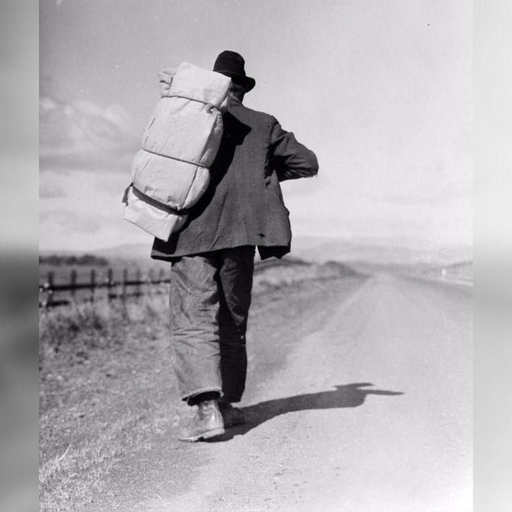 1935; Migrant worker on California highway; Dorothea Lange