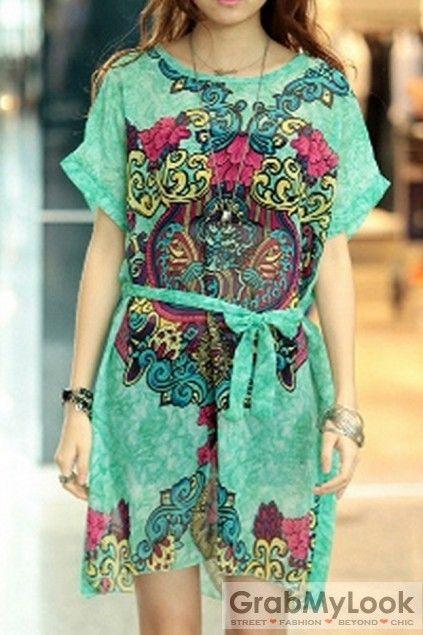 GrabMyLook  Vintage Enthic Totem Print Front Tie Dress Skirt