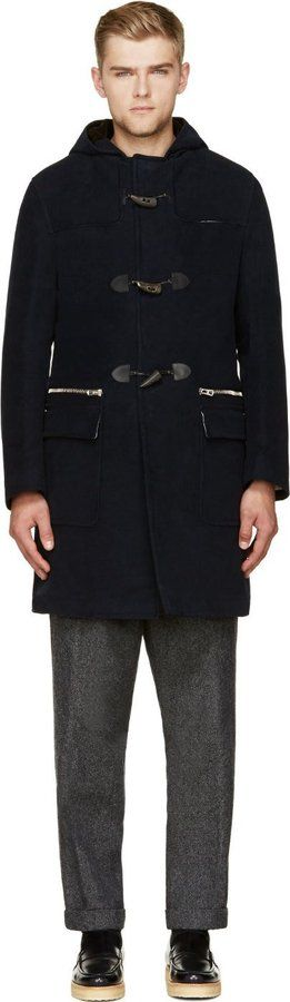 $1,550, Navy Duffle Coat: Umit Benan Navy Padded Duffle Coat. Sold by SSENSE. Click for more info: https://lookastic.com/men/shop_items/82420/redirect