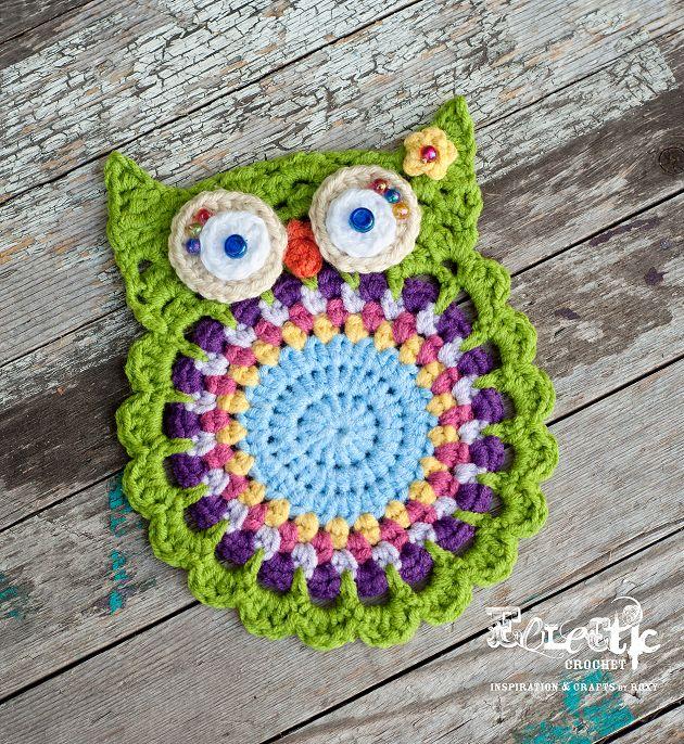 crochet owl coaster