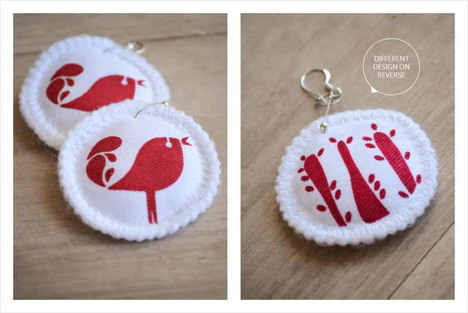 Handprinted quirky bird earrings on 100% cotton fabric - LBJs by Doeksisters