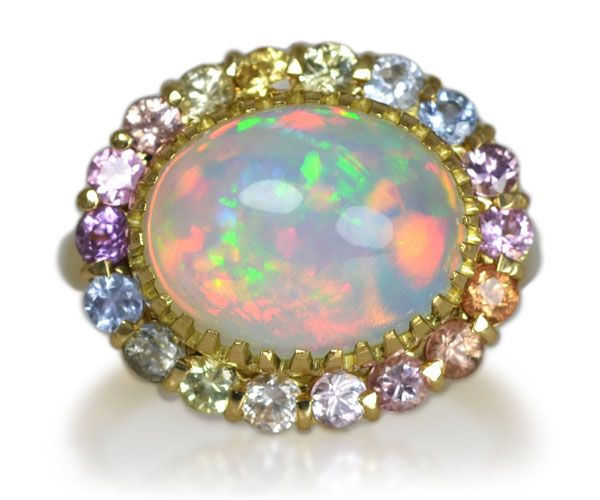 K18イエローゴールド・オパール・サファイアリング  Gold opal sapphire ring