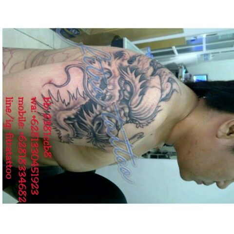 Unfinìshed yet, kepala naga, long, liong, dragon, black n grey, by fitra tattoo