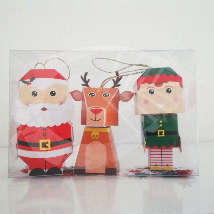 Santa y sus ayudantes - Adornos para el árbol de #Navidad #PaperToys