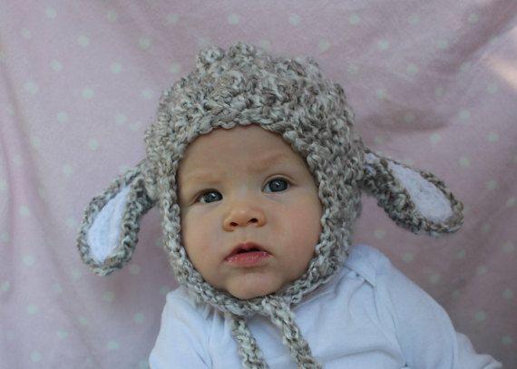 Baby chapeau d'agneau, 6-12 mois, prêt à expédier, chapeau d'agneau gris, chapeau de petit agneau, chapeau de Rabat oreille d'agneau, costume d'agneau bébé, bonnet de Noël de d'agneau,