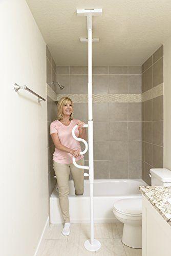 becca8f0d9f Stander Security Pole   Curve Grab Bar – Elderly Tension Mounted Transfer  Pole + Bathroom Assist Grab Bar – Iceberg White