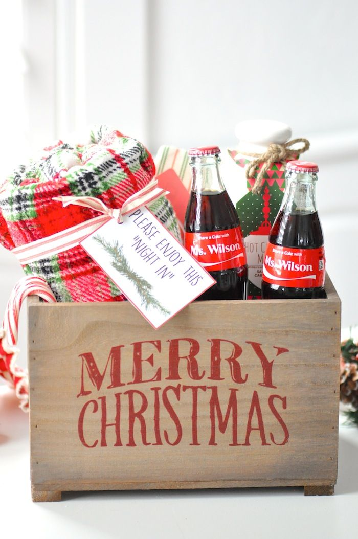 """Teacher gift idea for Christmas! FREE """"Night In"""" printable tags! Personalized Share a Coke bottles giveaway! On Kara's Party Ideas   KarasPartyIdeas.com"""