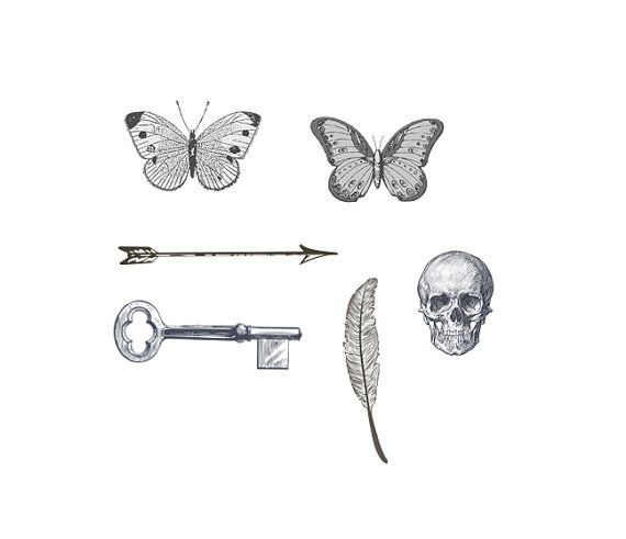 tiny  tattoos - vintage designs- arrow, key, feather, skull, butterflies - for wrists