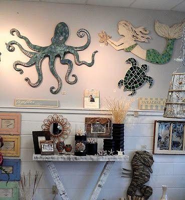 mosaic octopus, sea turtle and mermaid wall art