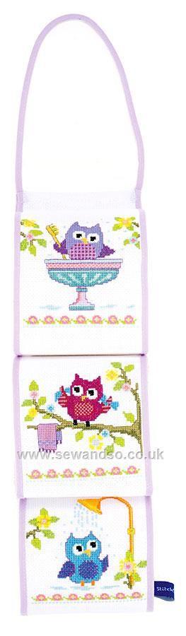 Buy Owls on a Branch Toilet Roll Holder Cross Stitch Kit Online at www.sewandso.co.uk