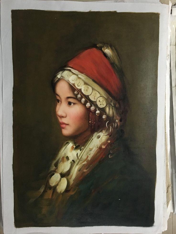 Китайцы портрет маслом ручной работы девушка мяо национальность платье ручной росписью гостиная центральной повесить картины