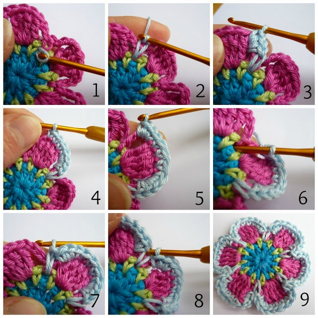 Beautiful crocheted Flower with overlay crochet... Step by Step photos for each part. Along with written pattern in English (English is just below the German pattern in red)