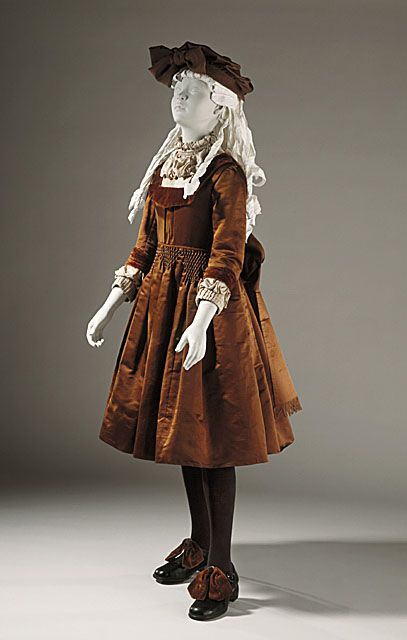 United States Girl's Dress, circa 1890. Costume/clothing principle attire/entire body, Silk twill, velveteen, Center back length: 35 1/2 in. (90.17 cm)  Gift of W. T. Wohlbruck (37.24.67)